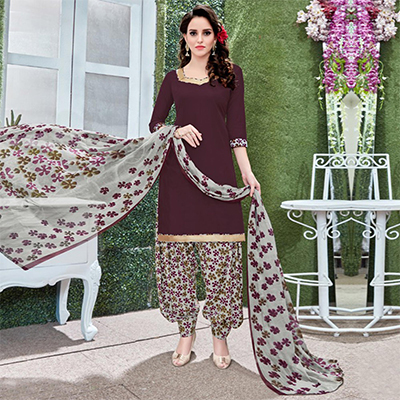Lovely Burgundy Colored Casual Wear Printed Heavy Crape Patiala Dress Material