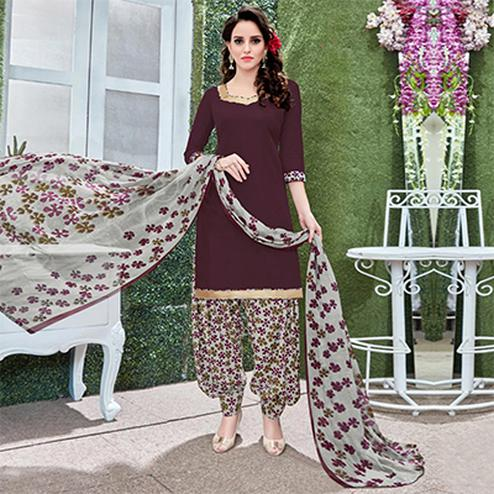 Lovely Burgundy Colored Casual Wear Printed Heavy Crape Patiyala Dress Material
