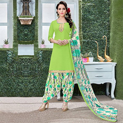 Graceful Green Colored Casual Wear Printed Heavy Crape Patiala Dress Material