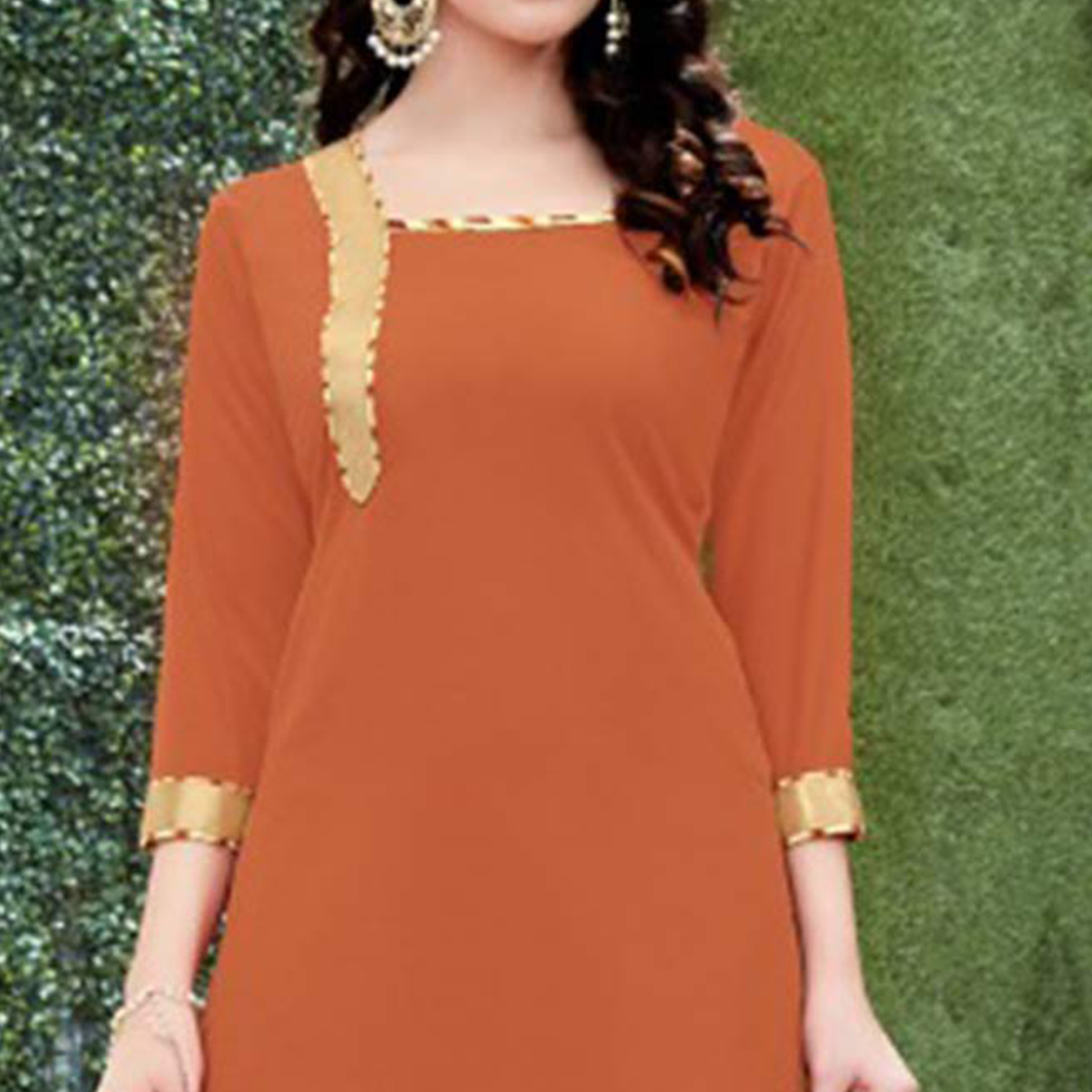Flamboyant Orange Colored Casual Wear Printed Heavy Crape Patiyala Dress Material