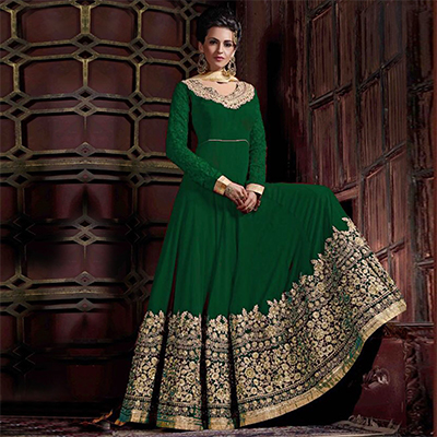 Gorgeous Green Colored Embroidered Partywear Abaya Style Faux Georgette And Velvet Anarkali Suit