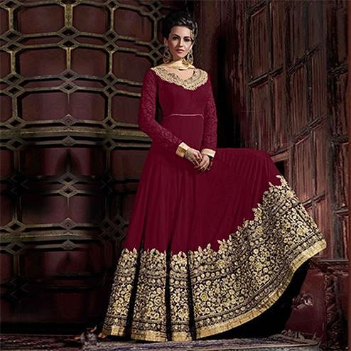 Stunning Maroon Colored Embroidered Partywear Abaya Style Faux Georgette And Velvet Anarkali Suit