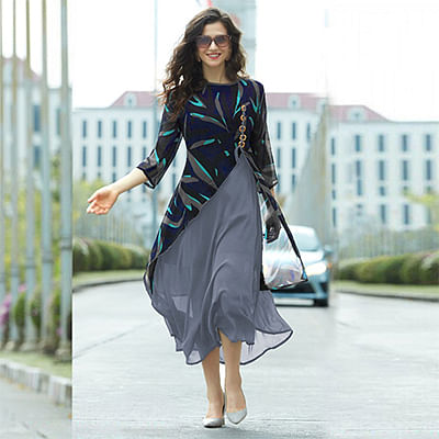Blue - Grey Layered Georgette Kurti