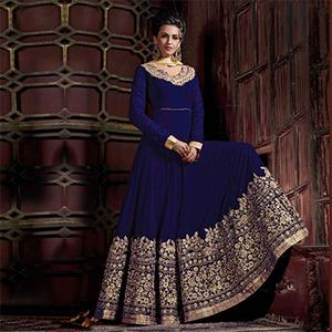 Beautiful Blue Colored Embroidered Partywear Abaya Style Faux Georgette And Velvet Anarkali Suit
