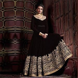 Graceful Black Colored Embroidered Partywear Abaya Style Faux Georgette And Velvet Anarkali Suit
