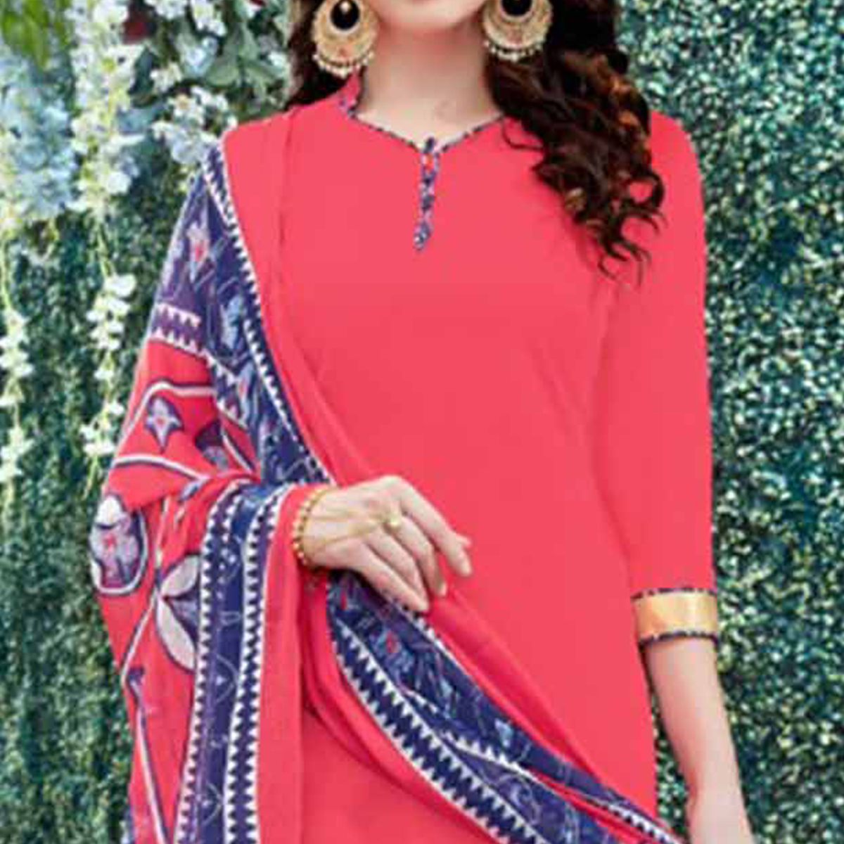 Pretty Pink Colored Casual Wear Printed Heavy Crape Patiala Dress Material