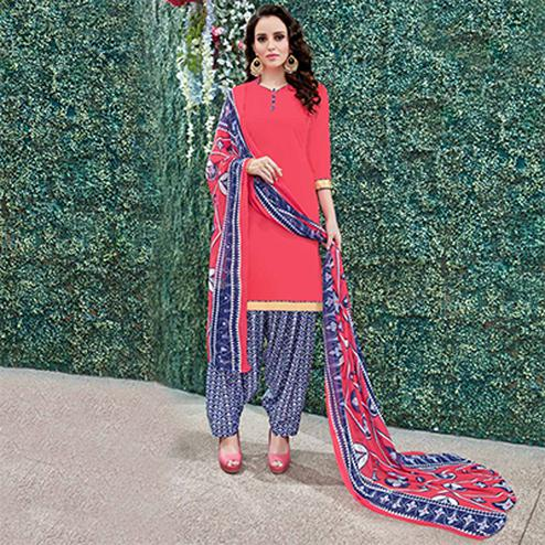 Pretty Pink Colored Casual Wear Printed Heavy Crape Patiyala Dress Material
