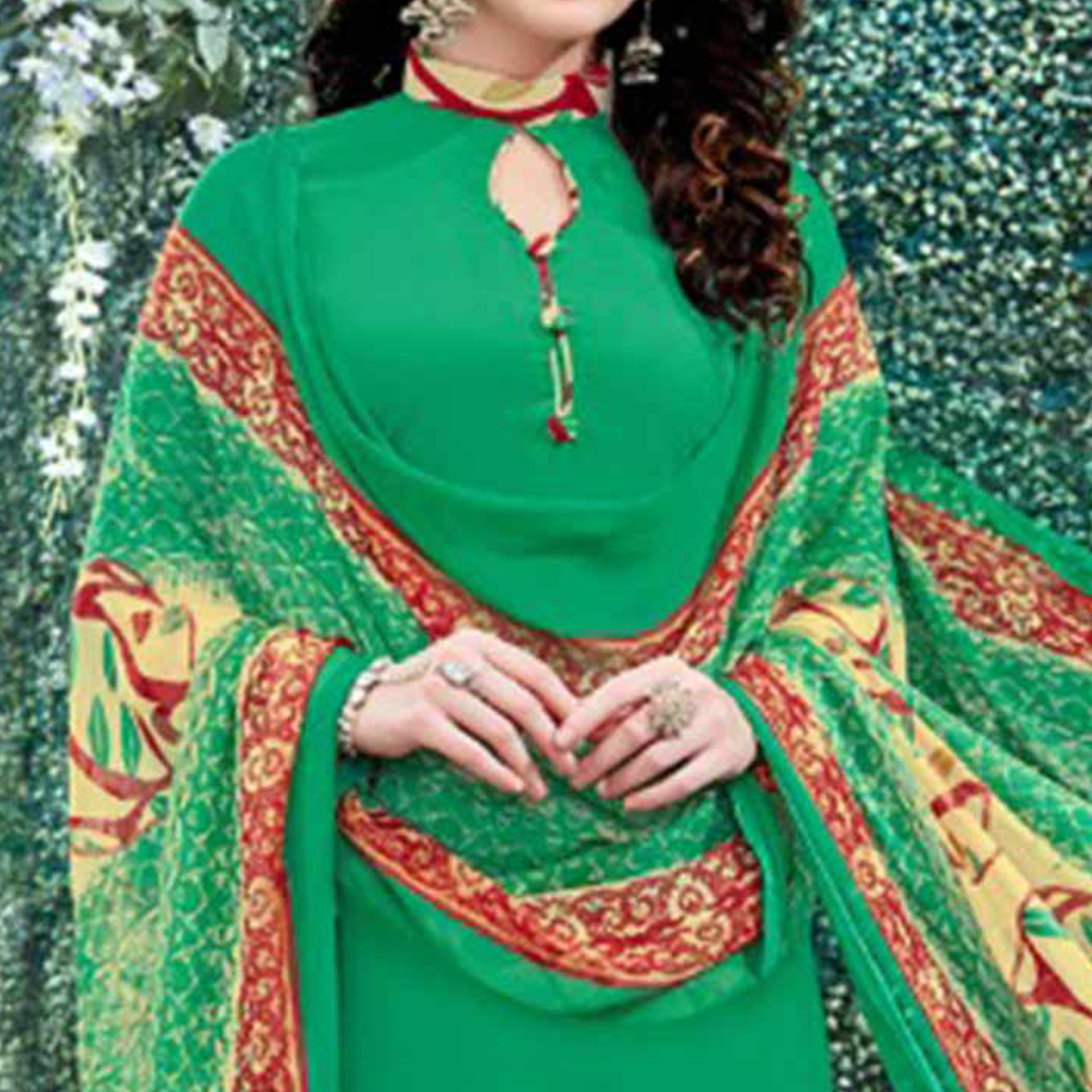 Gorgeous Green Colored Casual Wear Printed Heavy Crape Patiyala Dress Material