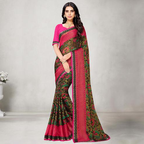 Gleaming Peach Coloured Partywear Printed Chiffon Brasso Saree