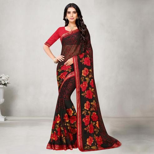 Refreshing Pink Coloured Partywear Printed Chiffon Brasso Saree