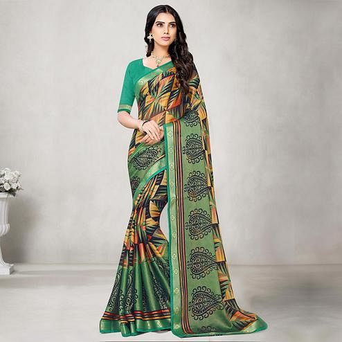 Excellent Sea Green Coloured Partywear Printed Chiffon Brasso Saree