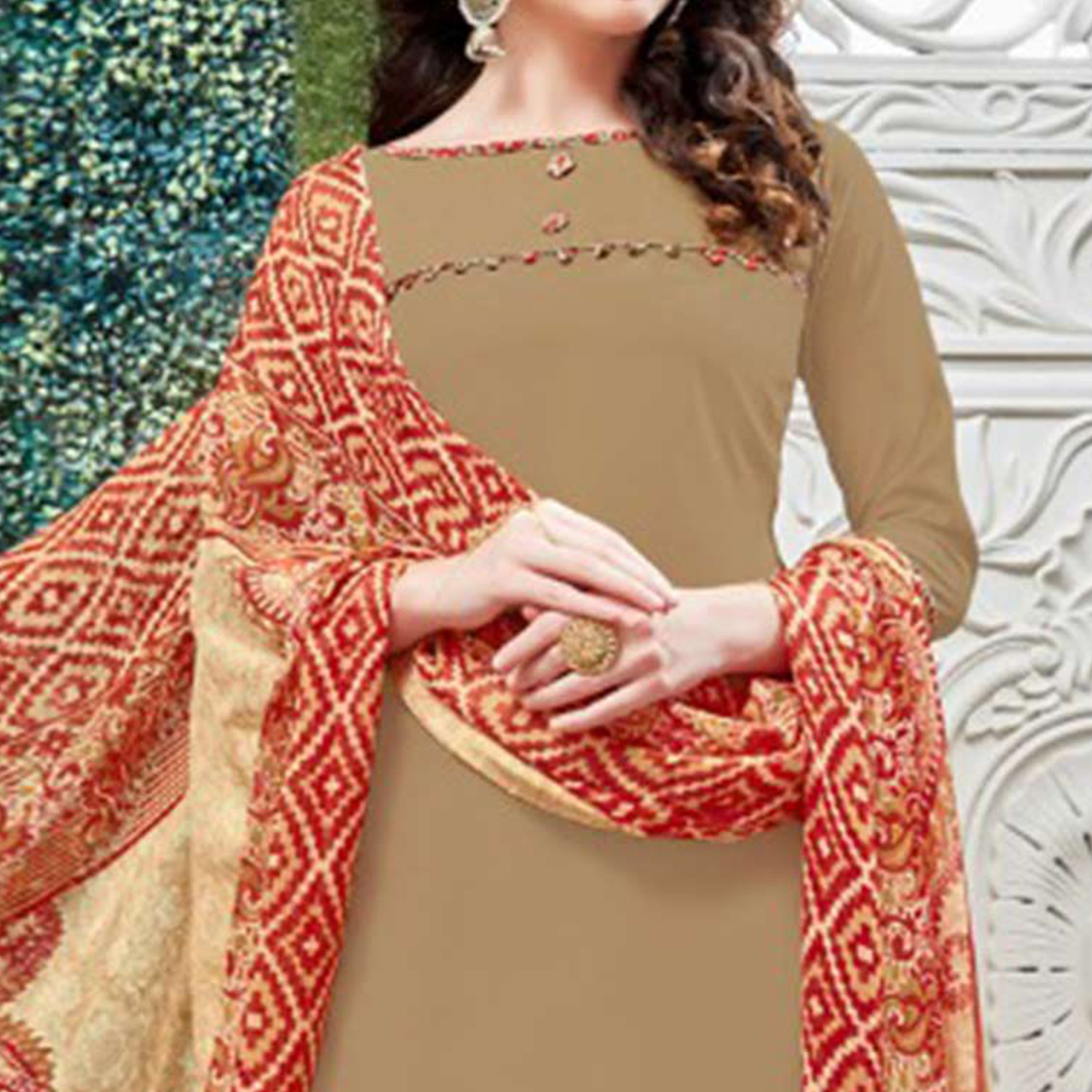 Attractive Beige Colored Casual Wear Printed Heavy Crape Patiala Dress Material