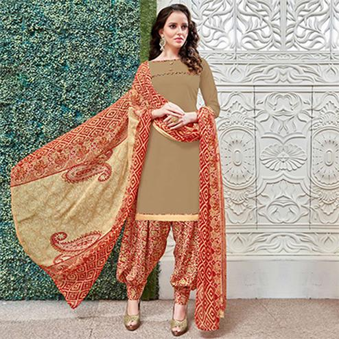 Attractive Beige Colored Casual Wear Printed Heavy Crape Patiyala Dress Material