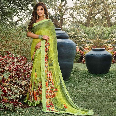 Eye-catching Green Coloured Casual Wear Floral Digital Printed Satin Saree