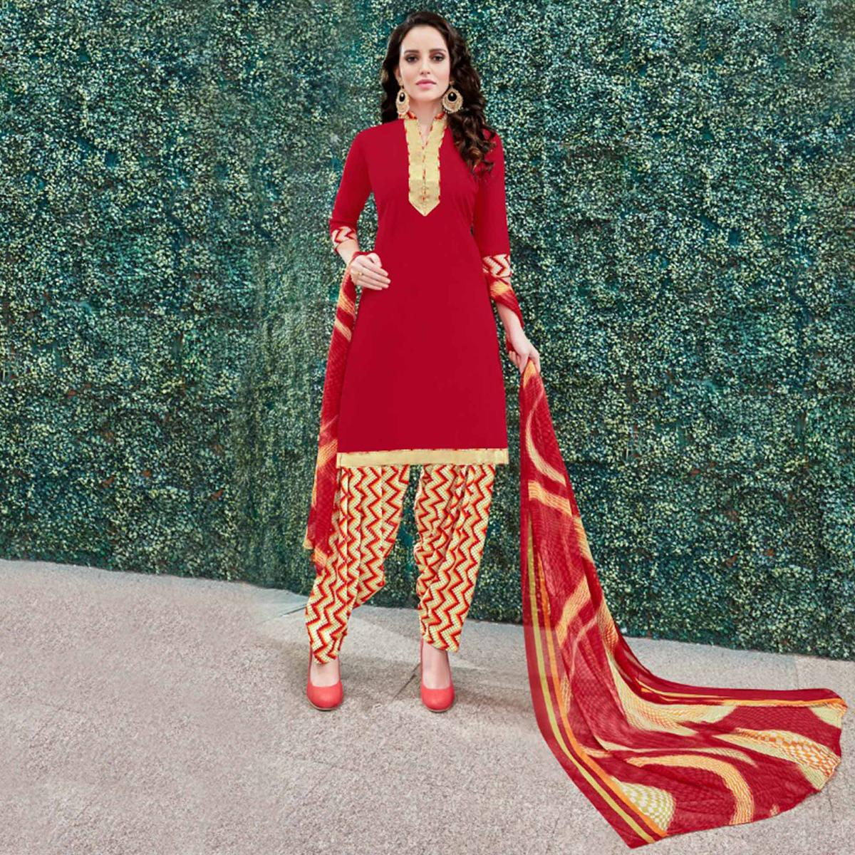Lipstick Red Colored Casual Wear Printed Heavy Crape Patiyala Dress Material