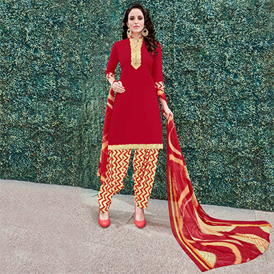 Lipstick Red Colored Casual Wear Printed Heavy Crape Patiala Dress Material