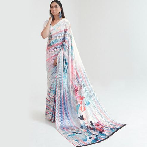 Intricate Multi Coloured Casual Wear Digital Printed Japan Satin Saree