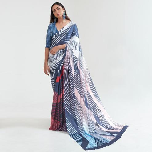 Sophisticated Multi Coloured Casual Wear Digital Printed Japan Satin Saree