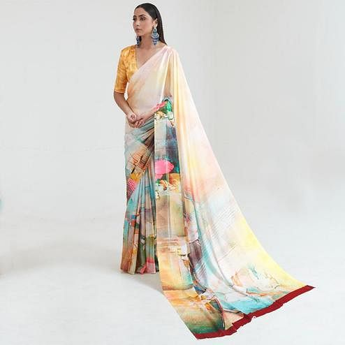 Excellent Yellow Coloured Casual Wear Digital Printed Japan Satin Saree
