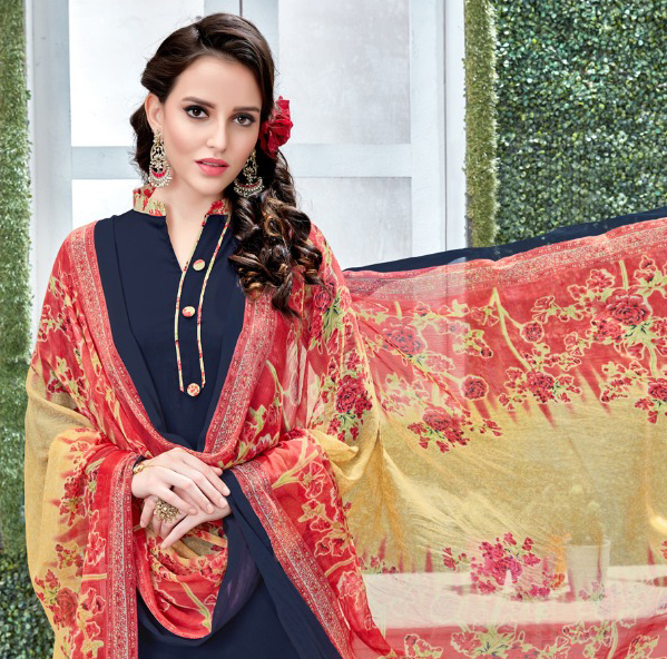 Charming Navy Blue Colored Casual Wear Printed Heavy Crape Patiala Dress Material
