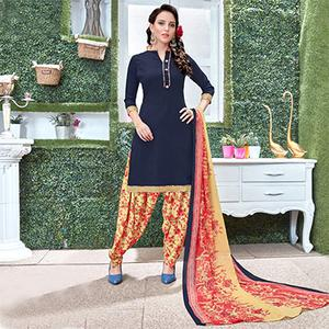 Charming Navy Blue Colored Casual Wear Printed Heavy Crape Patiyala Dress Material