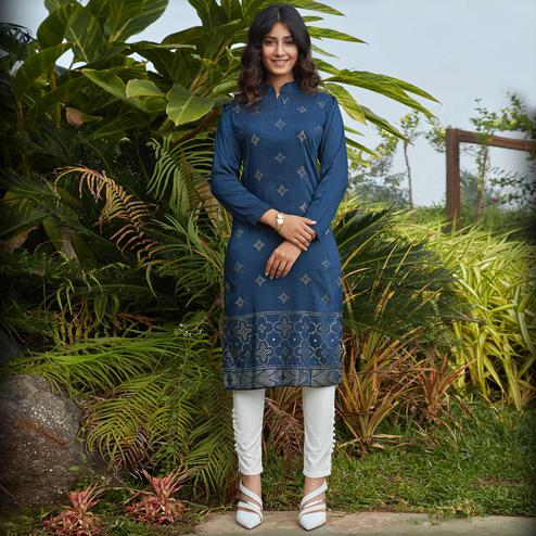 Engrossing Navy Blue Casual Wear Glistering Embellishment Silky Cotton Kurti