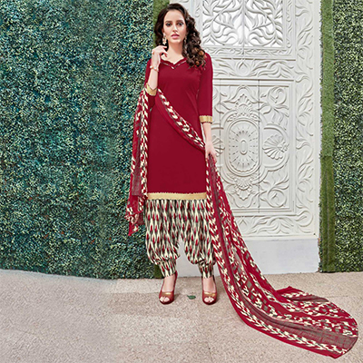 Adorable Maroon Colored Casual Wear Printed Heavy Crape Patiala Dress Material
