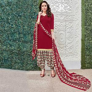 Adorable Maroon Colored Casual Wear Printed Heavy Crape Patiyala Dress Material