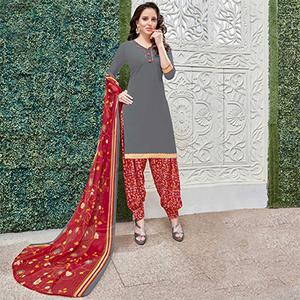Mesmerising Gray Colored Casual Wear Printed Heavy Crape Patiyala Dress Material