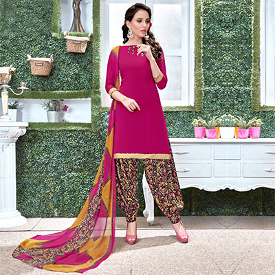 Hot Pink Colored Casual Wear Printed Heavy Crape Patiala Dress Material