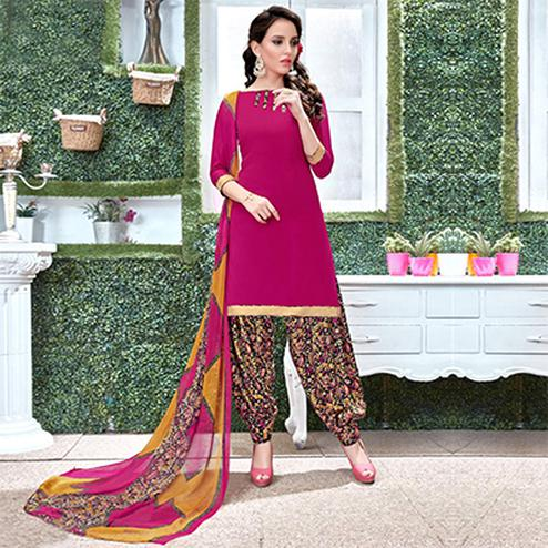 Hot Pink Colored Casual Wear Printed Heavy Crape Patiyala Dress Material