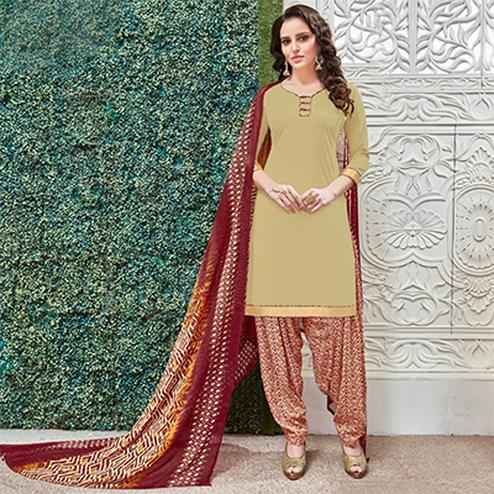 Classy Cream Colored Casual Wear Printed Heavy Crape Patiyala Dress Material