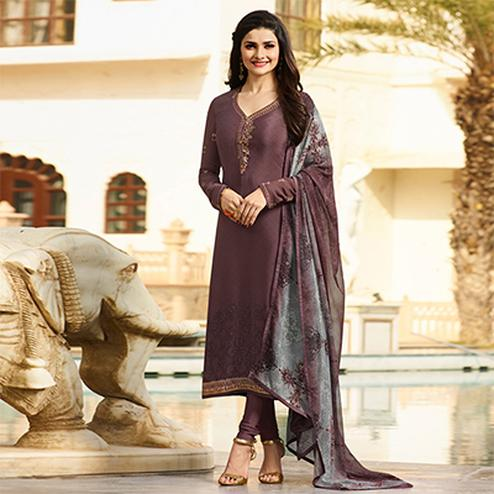 Adorable Dark Brown Embroidered Party Wear Royal Crape Salwar Suit