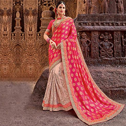 Pretty Pink-Peach Colored Designer Partywear Half N Half Silk Jacquard Saree