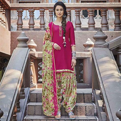 Flamboyant Pink Colored Casual Wear Printed Heavy Cotton Patiyala Dress Material