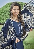 Pretty Blue Colored Casual Wear Printed Heavy Cotton Patiala Dress Material