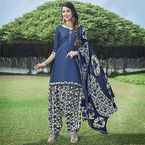 Pretty Blue Colored Casual Wear Printed Heavy Cotton Patiyala Dress Material