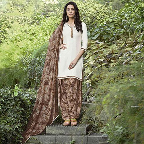 Gorgeous Off-White-Brown Colored Casual Wear Printed Heavy Cotton Patiyala Dress Material
