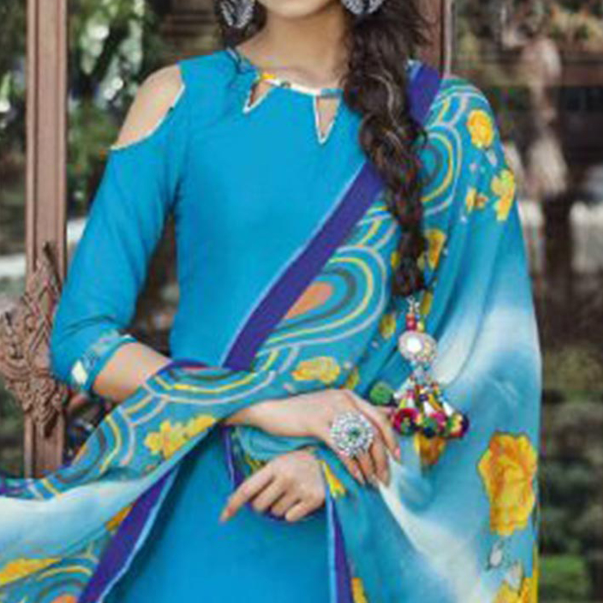 Blooming Blue Colored Casual Wear Printed Heavy Cotton Patiyala Dress Material