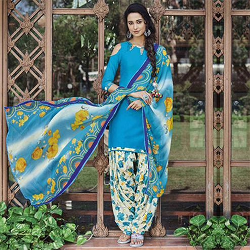 Blooming Blue Colored Casual Wear Printed Heavy Cotton Patiala Dress Material