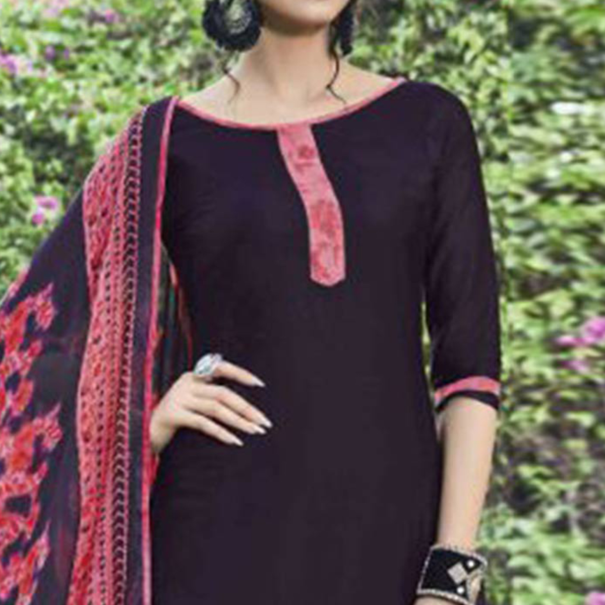 Attractive Wine Colored Casual Wear Printed Heavy Cotton Patiala Dress Material
