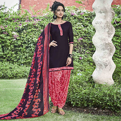 Attractive Wine Colored Casual Wear Printed Heavy Cotton Patiyala Dress Material