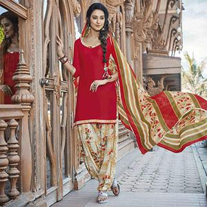 Lipstick Red Colored Casual Wear Printed Heavy Cotton Patiyala Dress Material