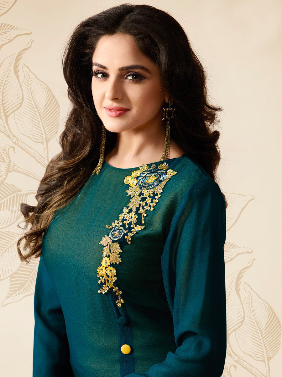 Green Embroidered Work Georgette Kurti