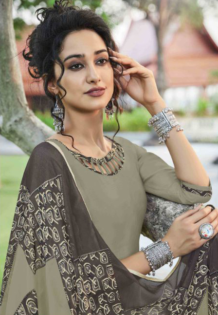 Charming Khaki Colored Casual Wear Printed Heavy Cotton Patiala Dress Material