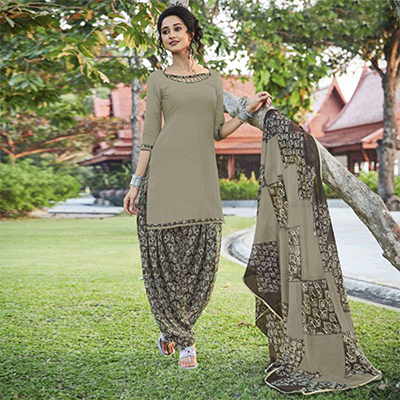 Charming Khaki Colored Casual Wear Printed Heavy Cotton Patiyala Dress Material