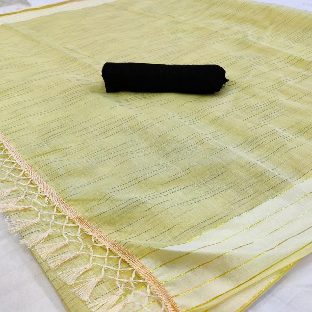 Groovy Yellow Colored Casual Wear Solid Cotton Saree