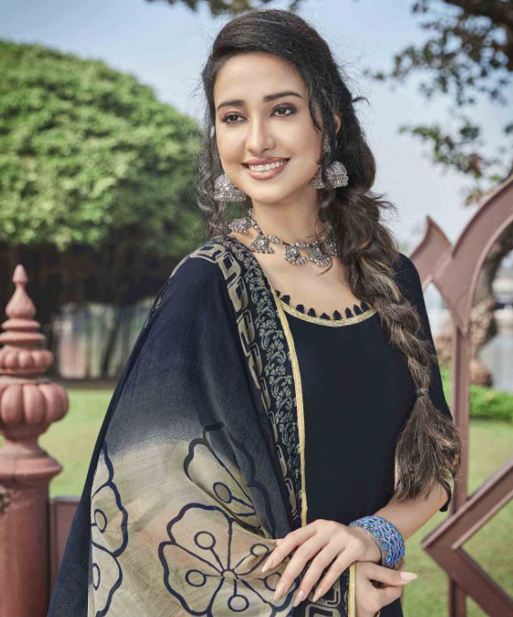 Ravishing Black Colored Casual Wear Printed Heavy Cotton Patiala Dress Material