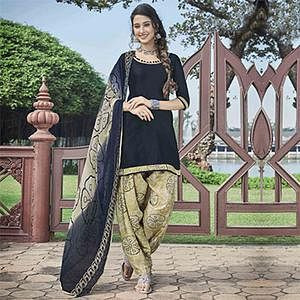 Ravishing Black Colored Casual Wear Printed Heavy Cotton Patiyala Dress Material