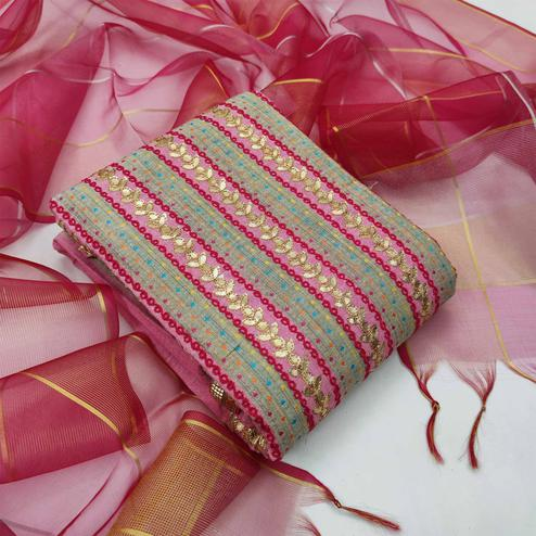 Beautiful Pink Colored Partywear Embroidered Fancy Cotton Dress Material